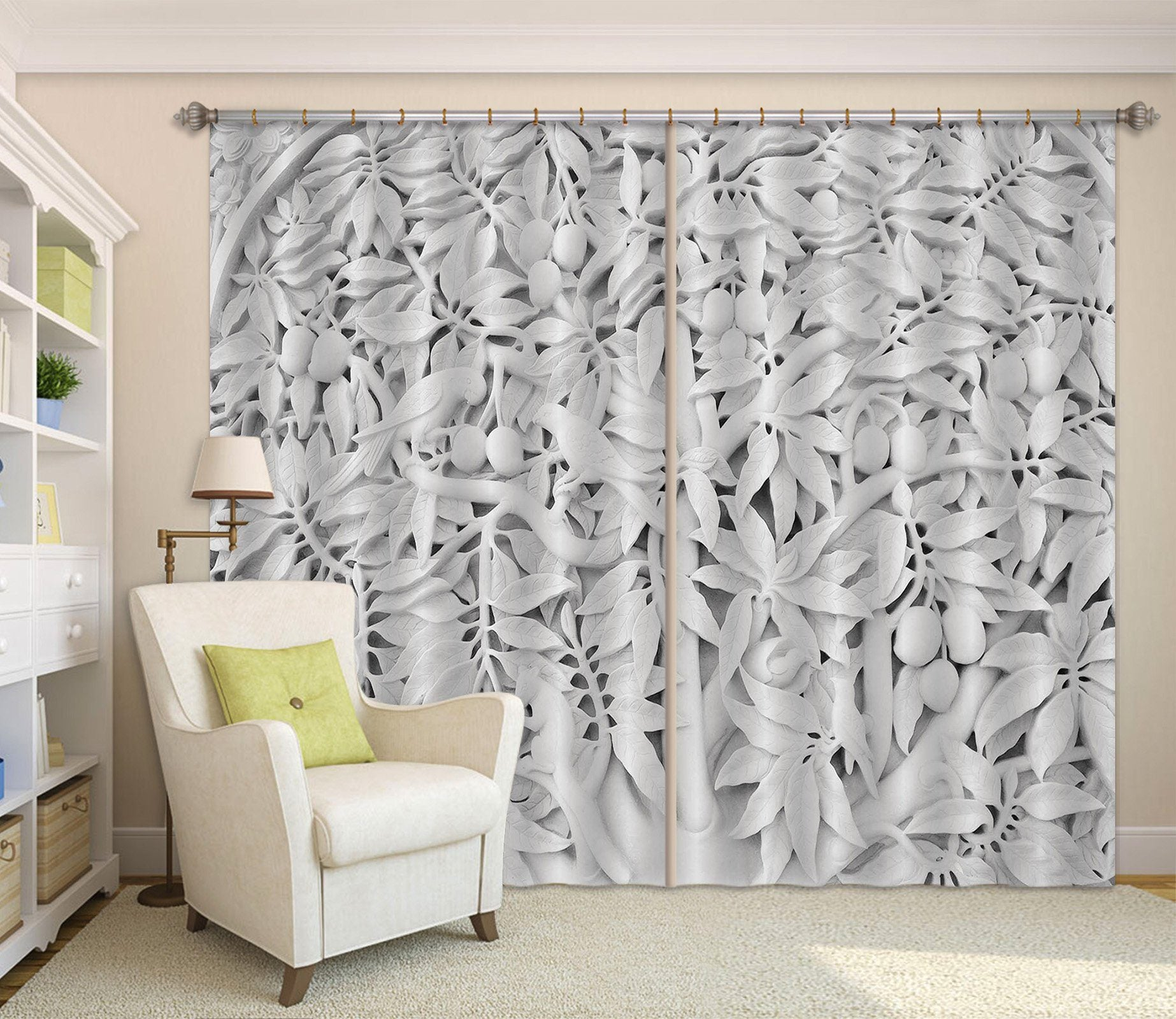 3D Bird Leaf Fruit 069 Curtains Drapes Curtains AJ Creativity Home