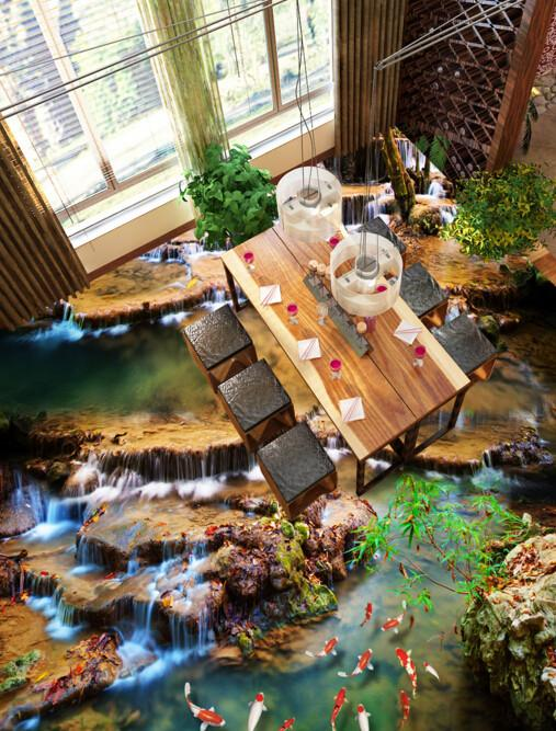 3D River And Lakes Floor Mural Wallpaper AJ Wallpaper 2