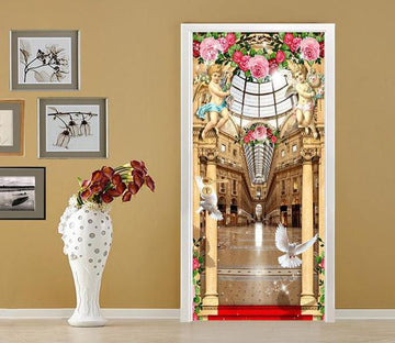 3D angel surround church door mural Wallpaper AJ Wallpaper