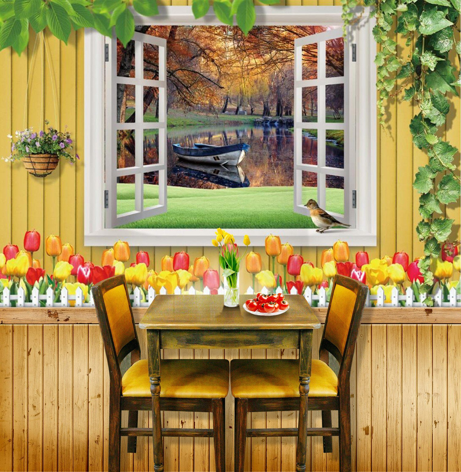 3D Autumn Lake Floating Boat 83