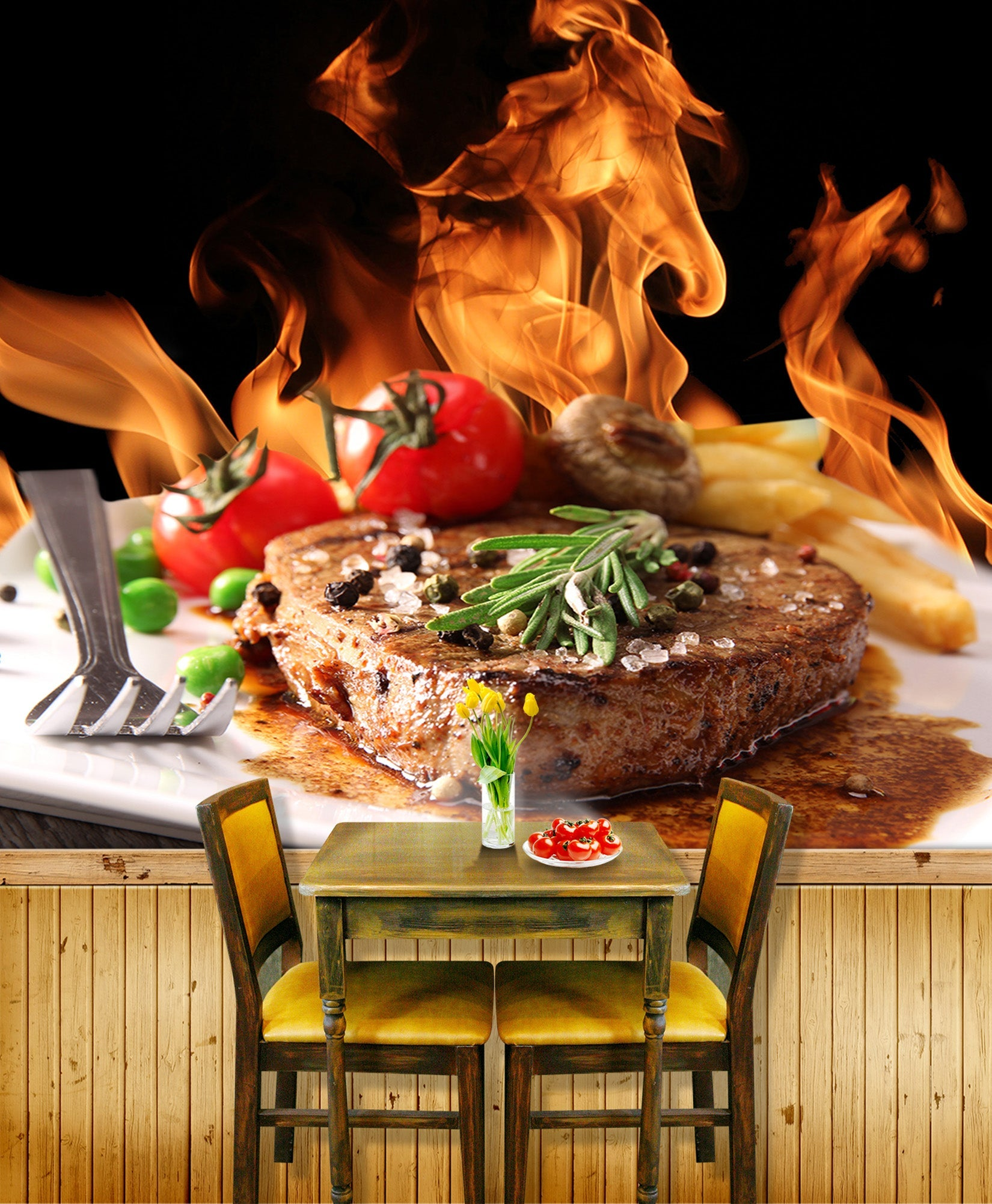 3D Delicious Steak 056 Food Wall Murals