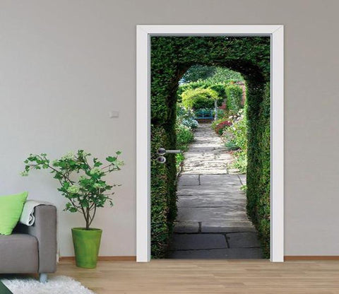 3D arch and stone road door mural