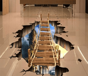 3D Wood Bridge 5 Floor Mural