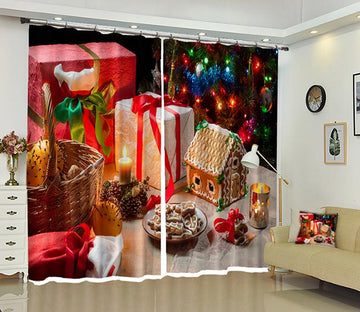3D Dessert Plate Christmas 6 Curtains Drapes Curtains AJ Creativity Home