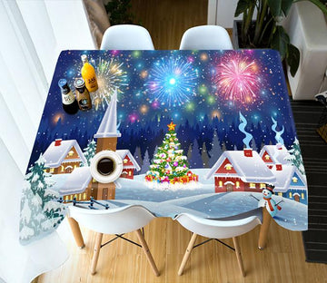 3D Fireworks Village Christmas 70 Tablecloths Tablecloths AJ Creativity Home