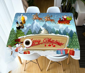 3D Wooden Sign Snow Mountain 71 Tablecloths Tablecloths AJ Creativity Home