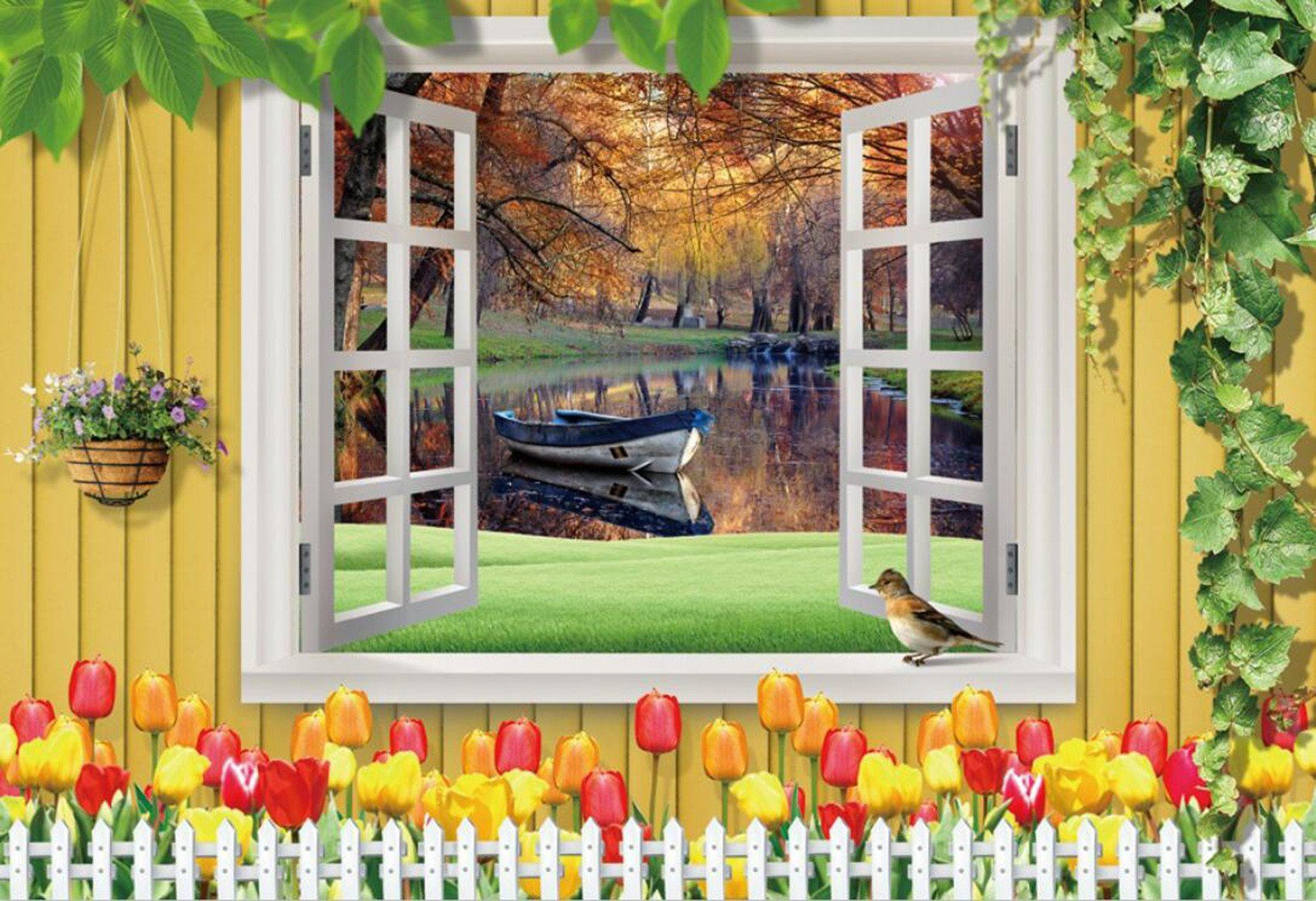3D Autumn Lake Floating Boat 83 Wallpaper AJ Wallpaper