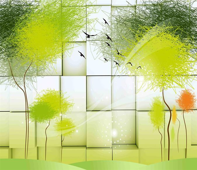 3D Painted Green Tree 98 Wallpaper AJ Wallpaper