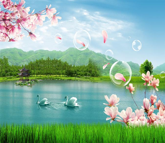 3D Swan Lake Cherry Tree 22 Wallpaper AJ Wallpaper