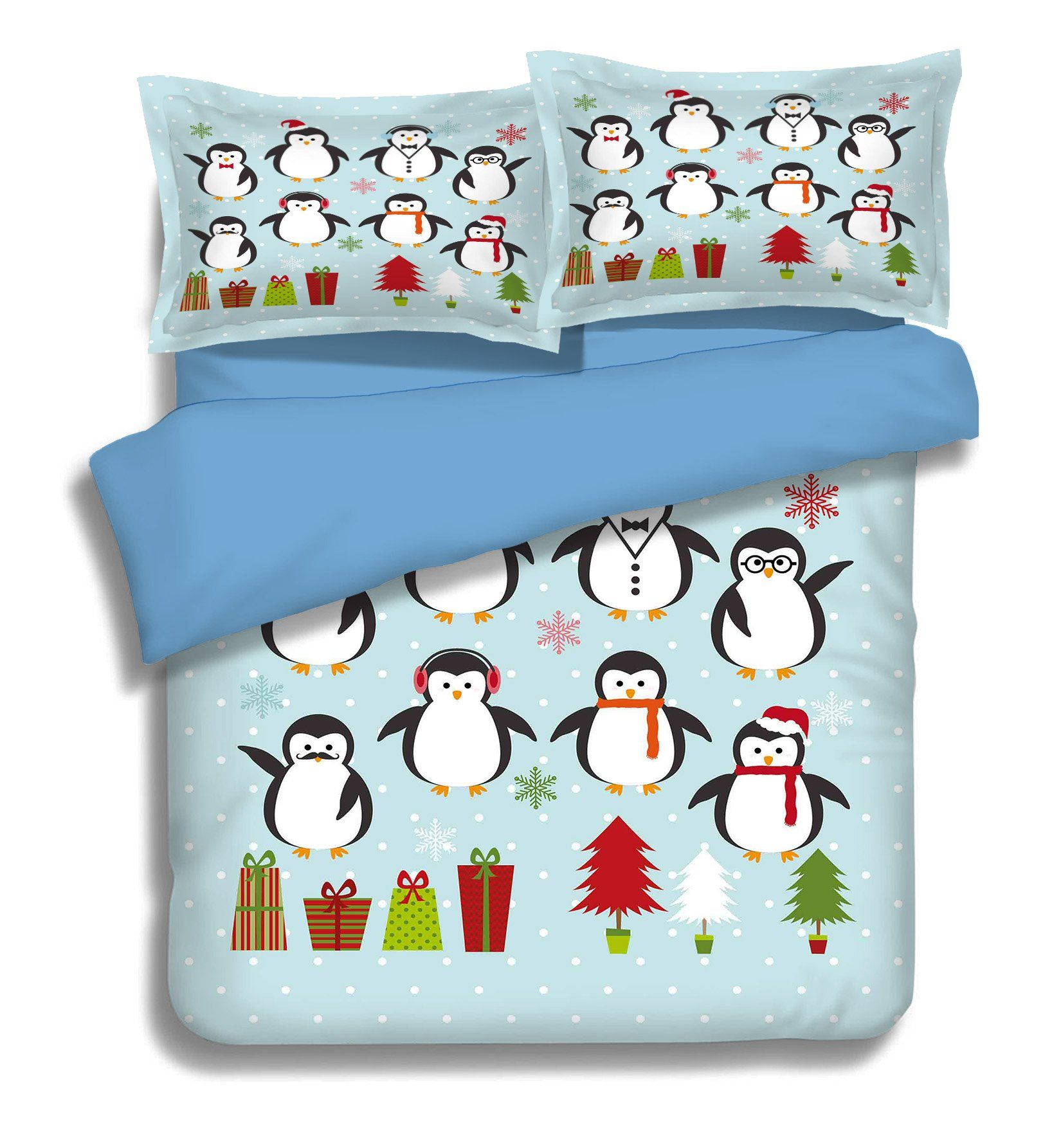3D Penguin Jump 022 Bed Pillowcases Quilt Wallpaper AJ Wallpaper