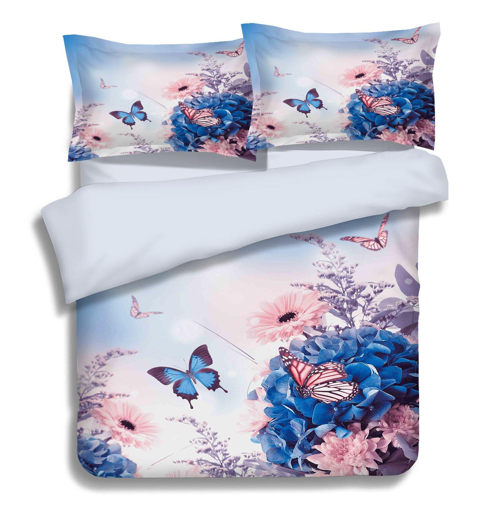 3D Flowers Butterflies 347 Bed Pillowcases Quilt