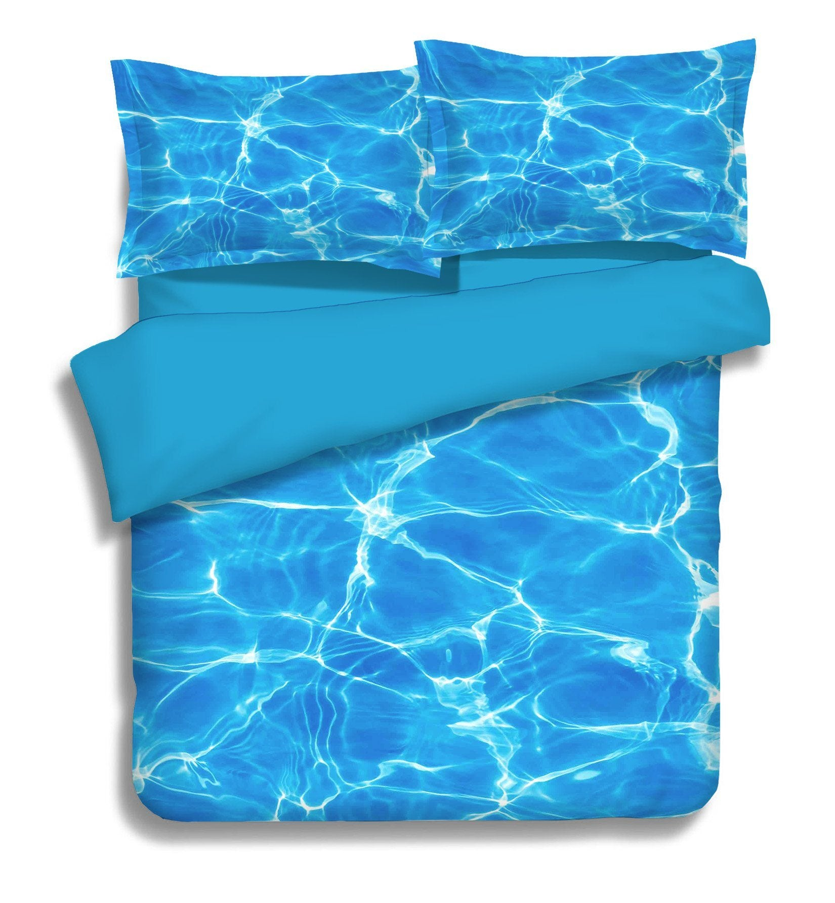 3D Blue Shiny Water 256 Bed Pillowcases Quilt