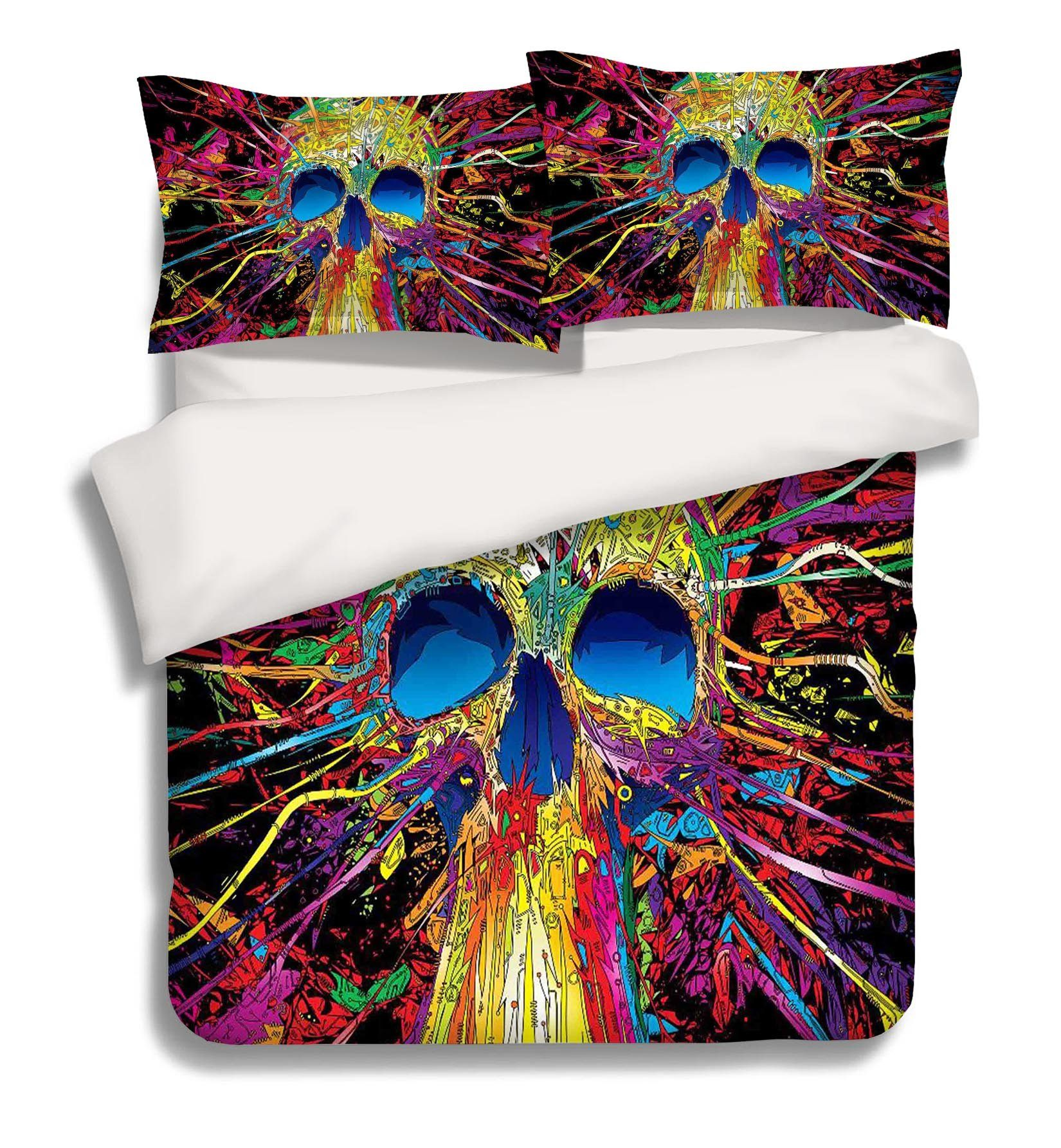 3D Colorful Skull 143 Bed Pillowcases Quilt