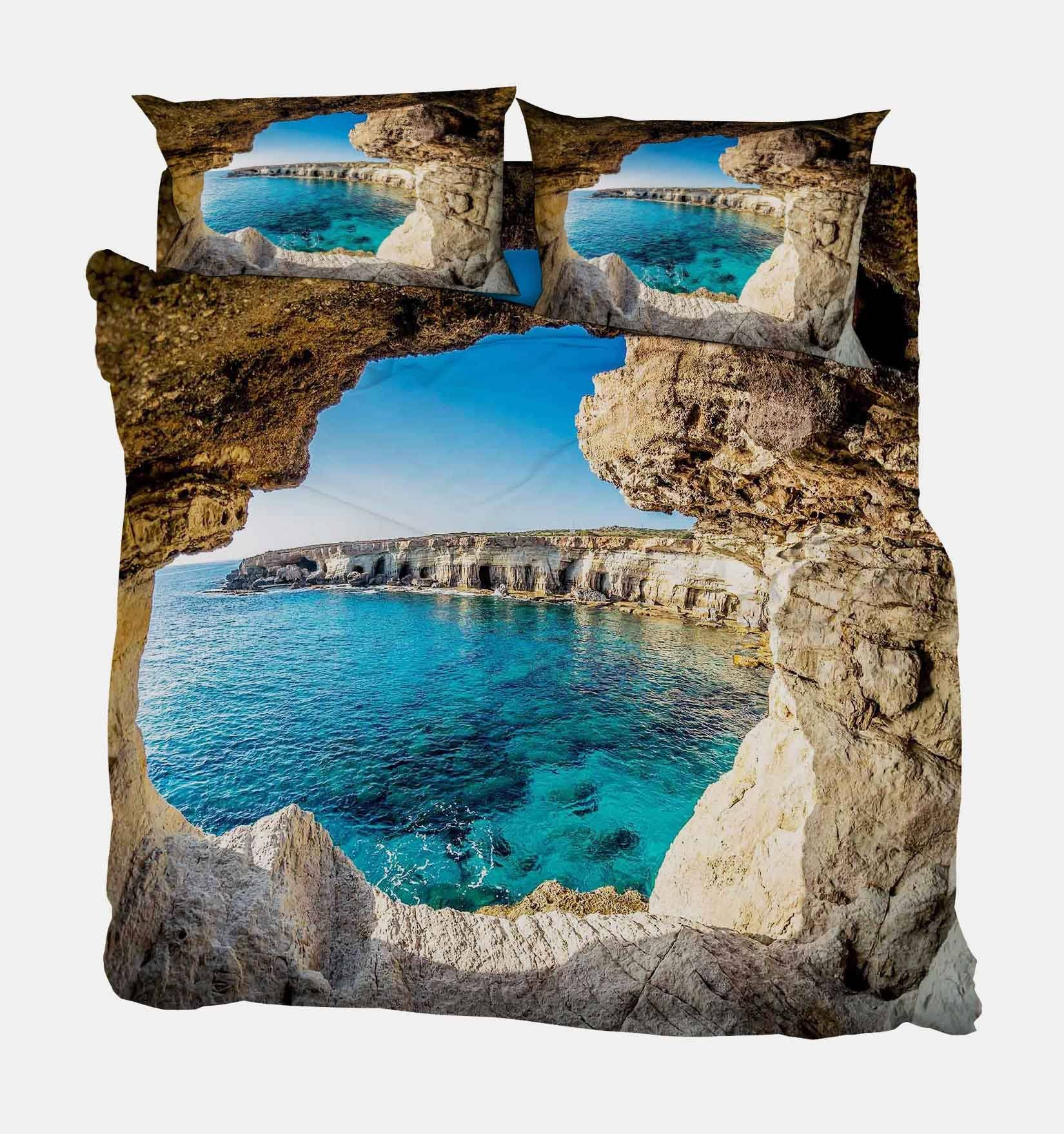 3D Cave Sea Scenery 37 Bed Pillowcases Quilt