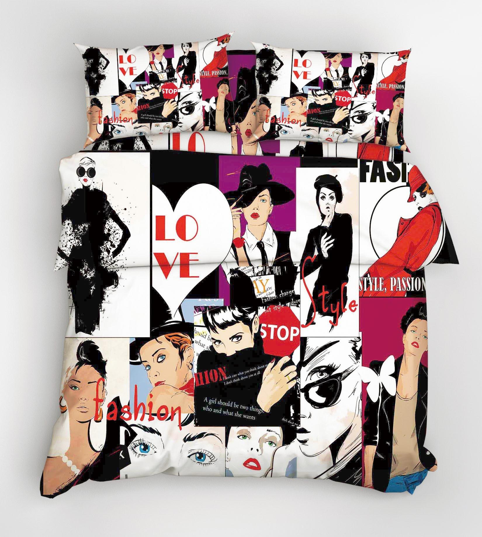 3D Fashion Women 36 Bed Pillowcases Quilt
