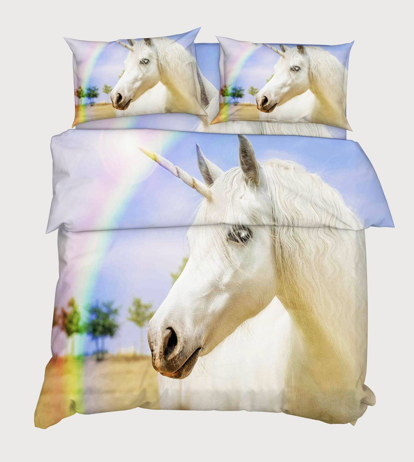 3D Rainbow Unicorn 107 Bed Pillowcases Quilt