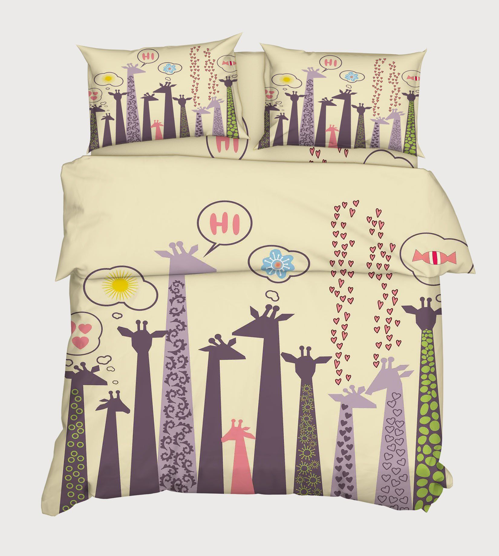 3D Cartoon Giraffes 94 Bed Pillowcases Quilt