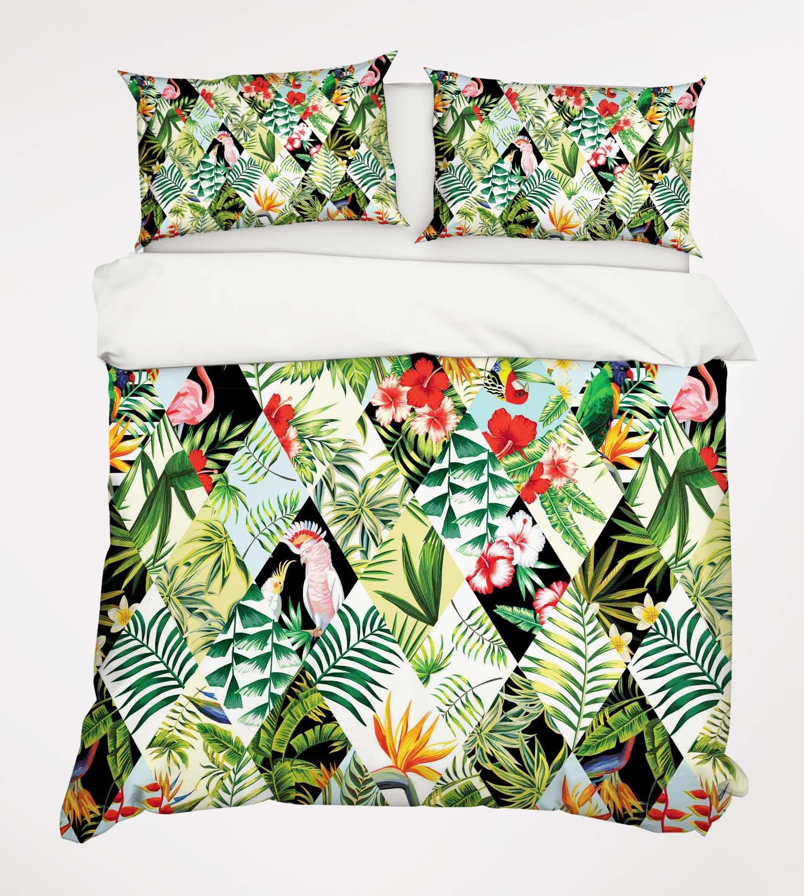 3D Flowers Leaves Birds Twill 198 Bed Pillowcases Quilt