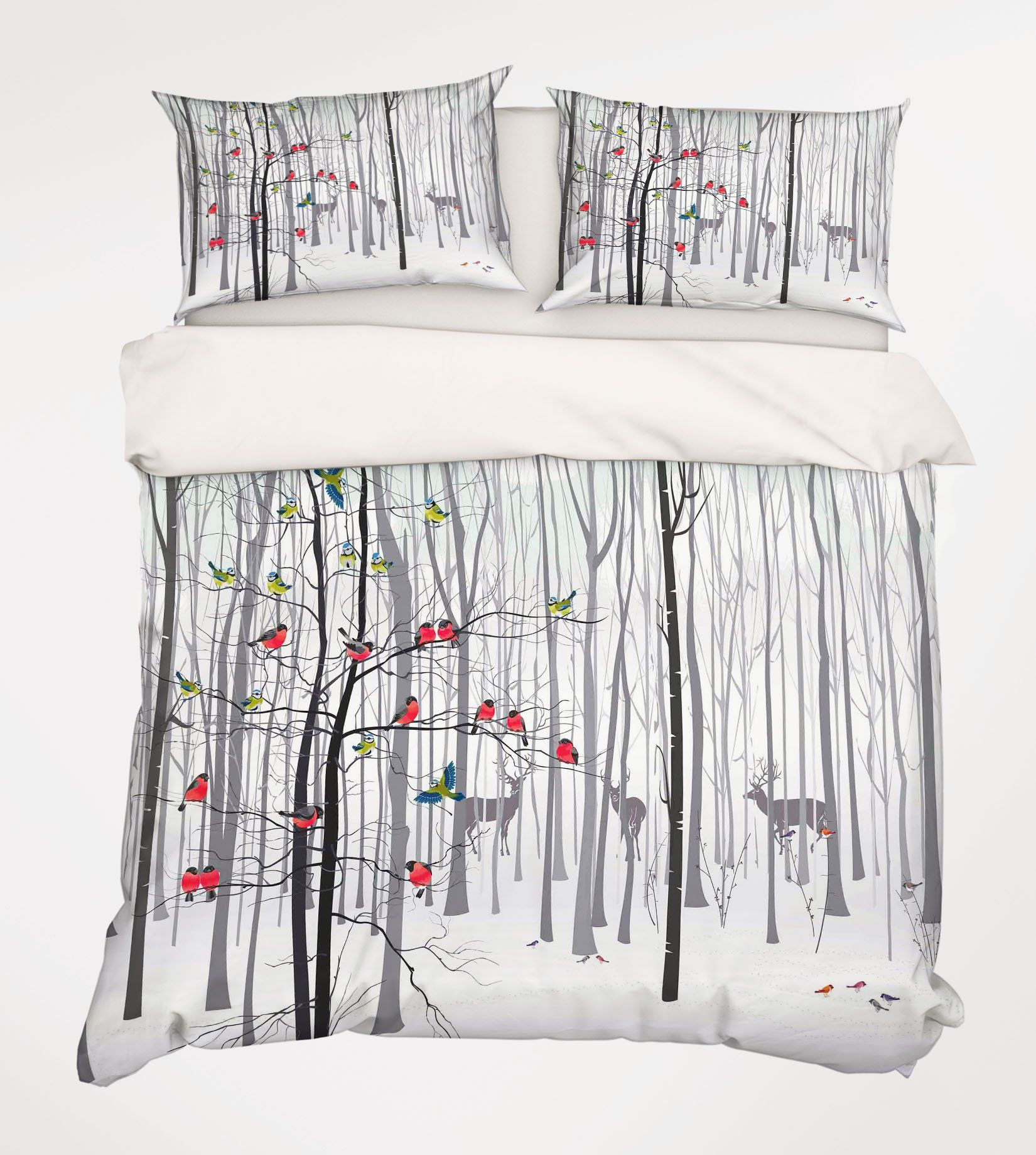 3D Bare Forest Animals 230 Bed Pillowcases Quilt