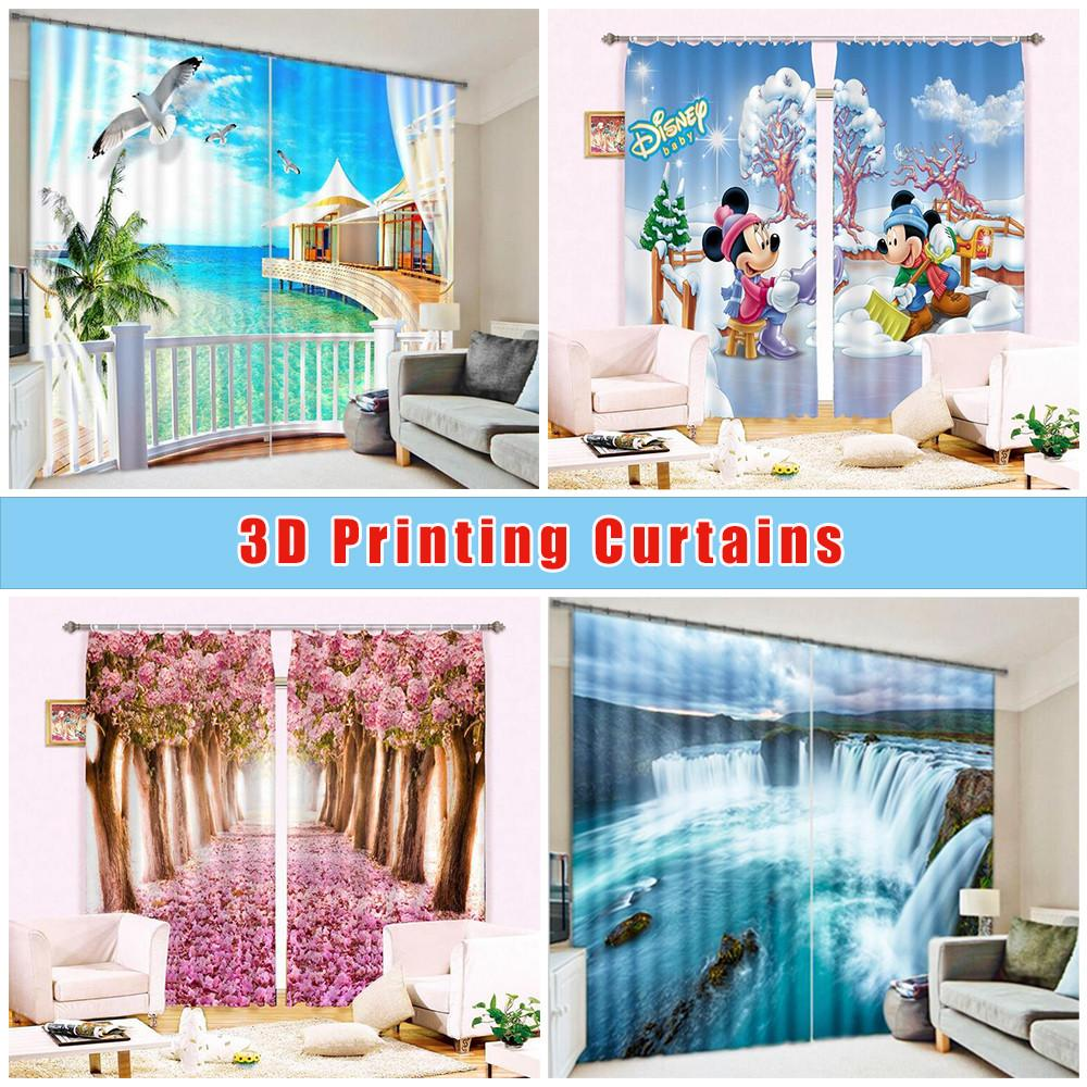 3D Bare Trees Flying Birds Curtains Drapes