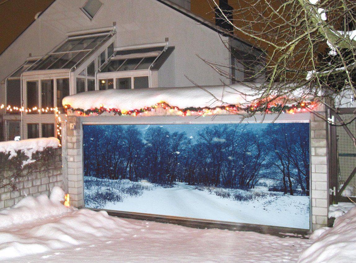 3D Snowing Forest Road 131 Garage Door Mural