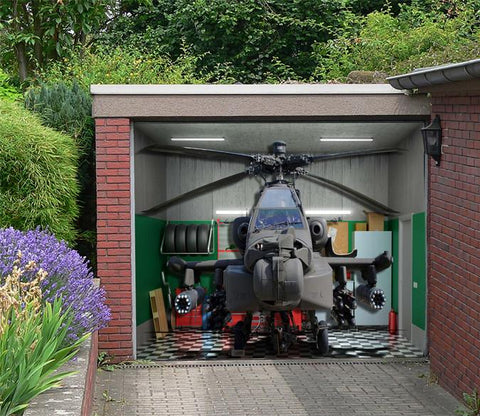 3D Fighter Helicopter Garage Door Mural