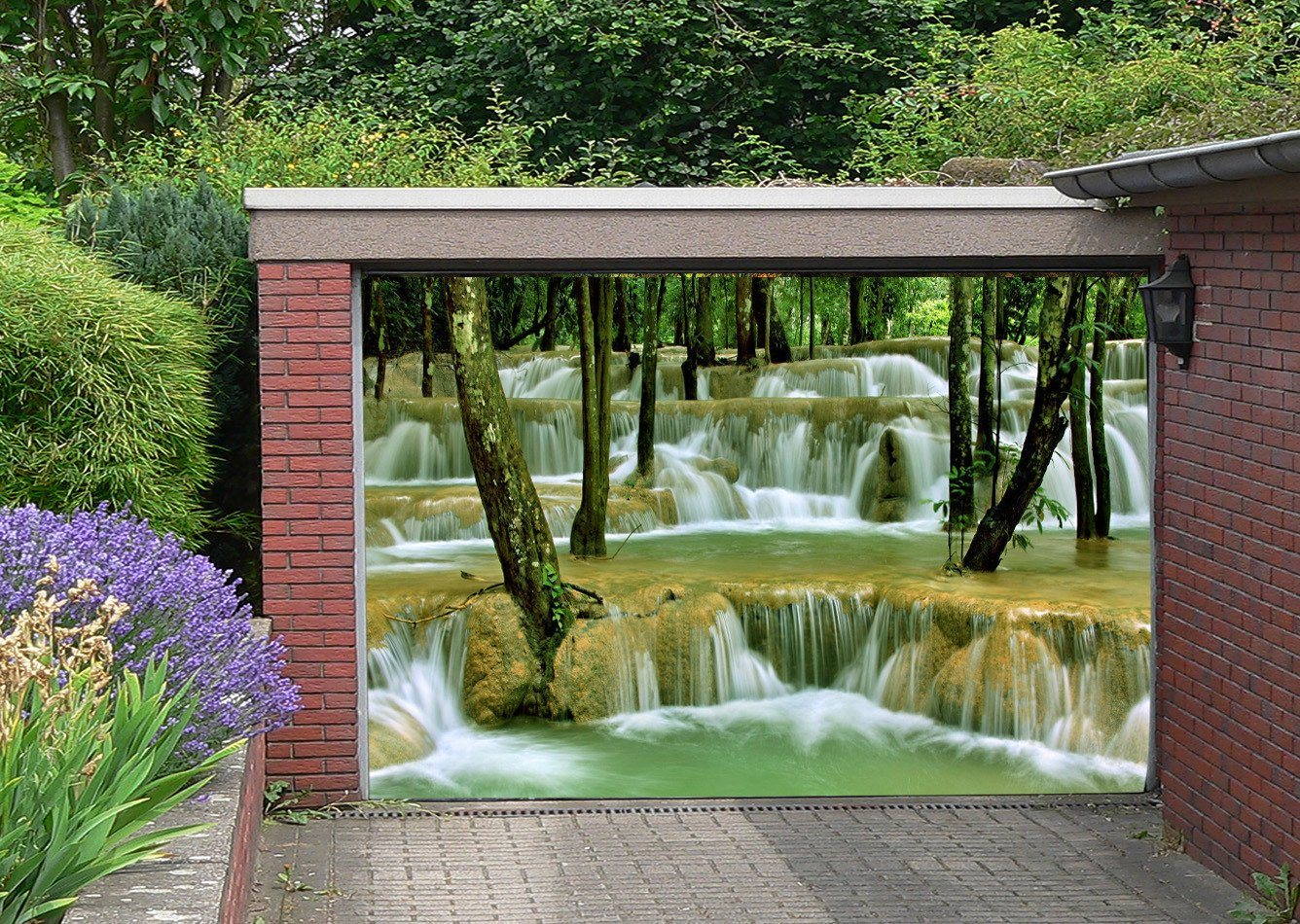 3D River Waterfalls Trees 261 Garage Door Mural Wallpaper AJ Wallpaper