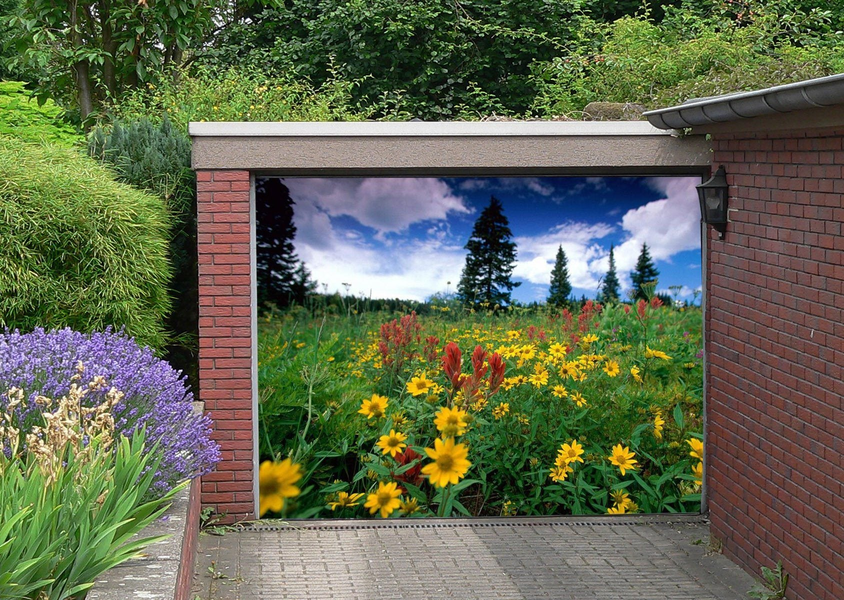3D Lush Wildflowers 201 Garage Door Mural