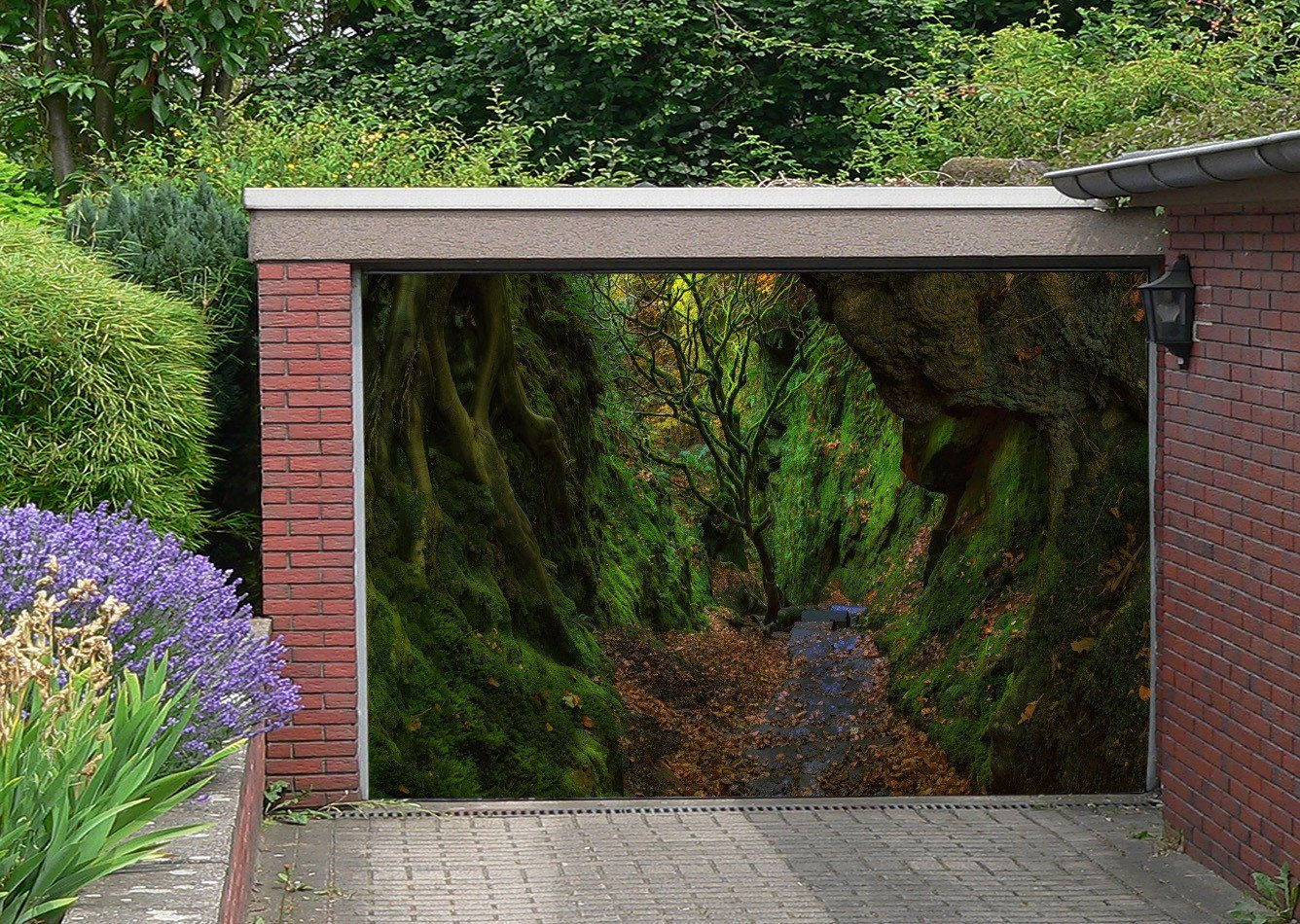3D Mountain Deep Path 240 Garage Door Mural