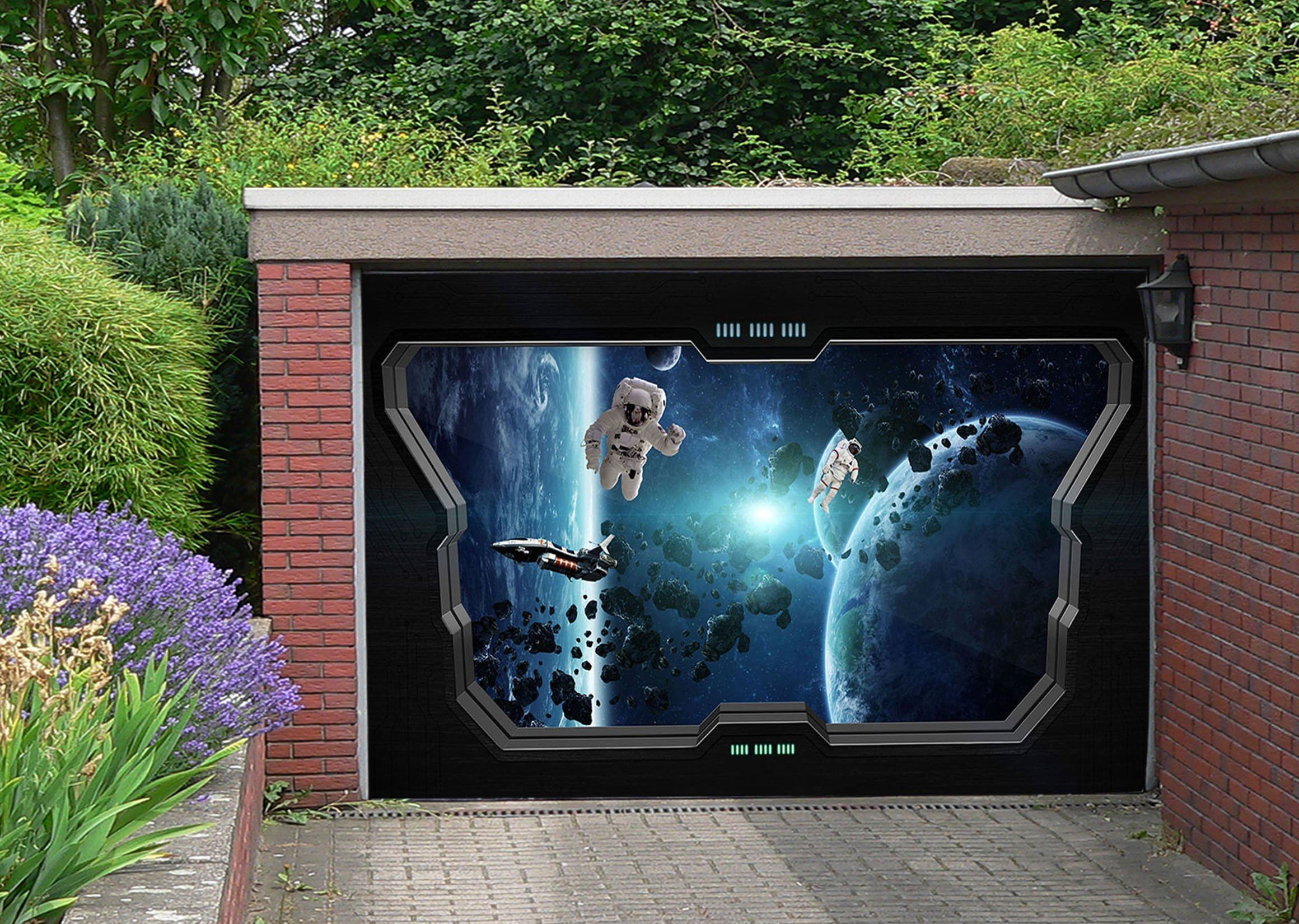 3D Astronauts Space Travel 372 Garage Door Mural
