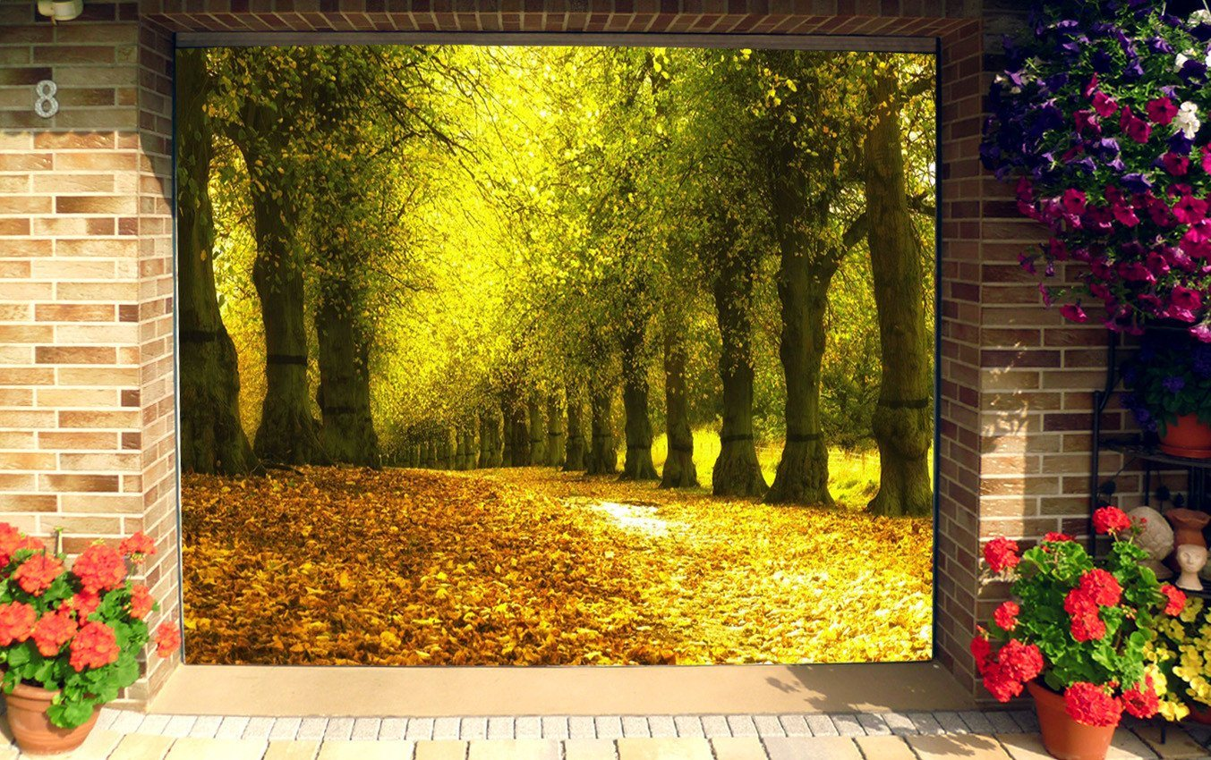 3D Falling Leaves Trees 252 Garage Door Mural