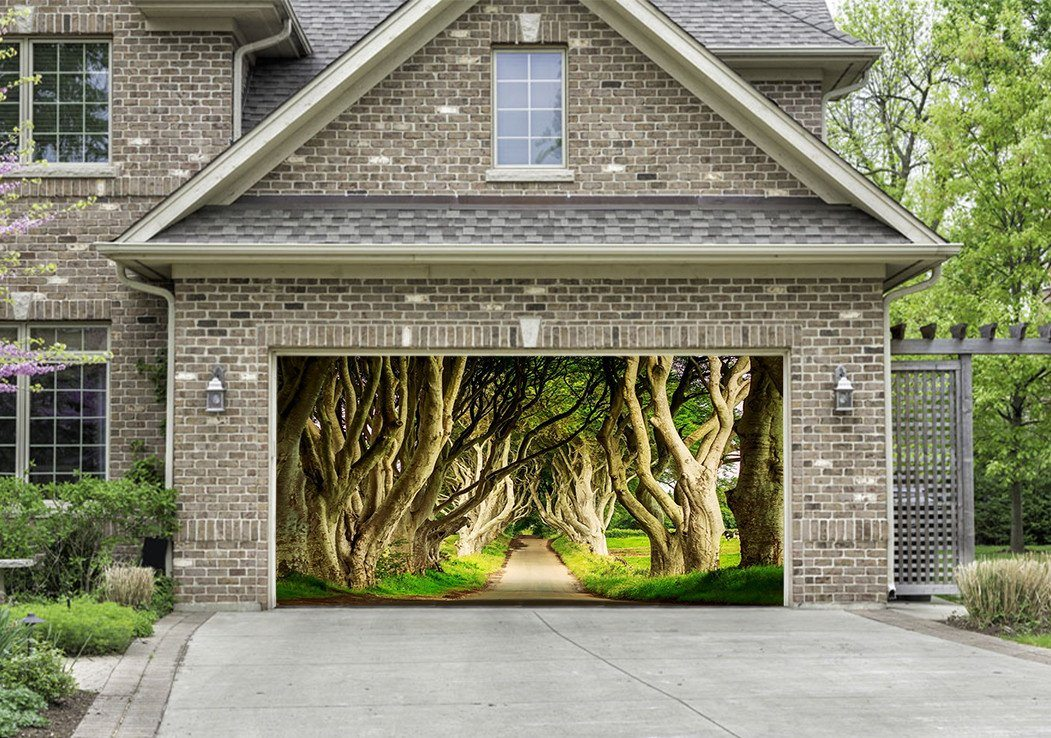 3D Roadside Dancing Trees 180 Garage Door Mural