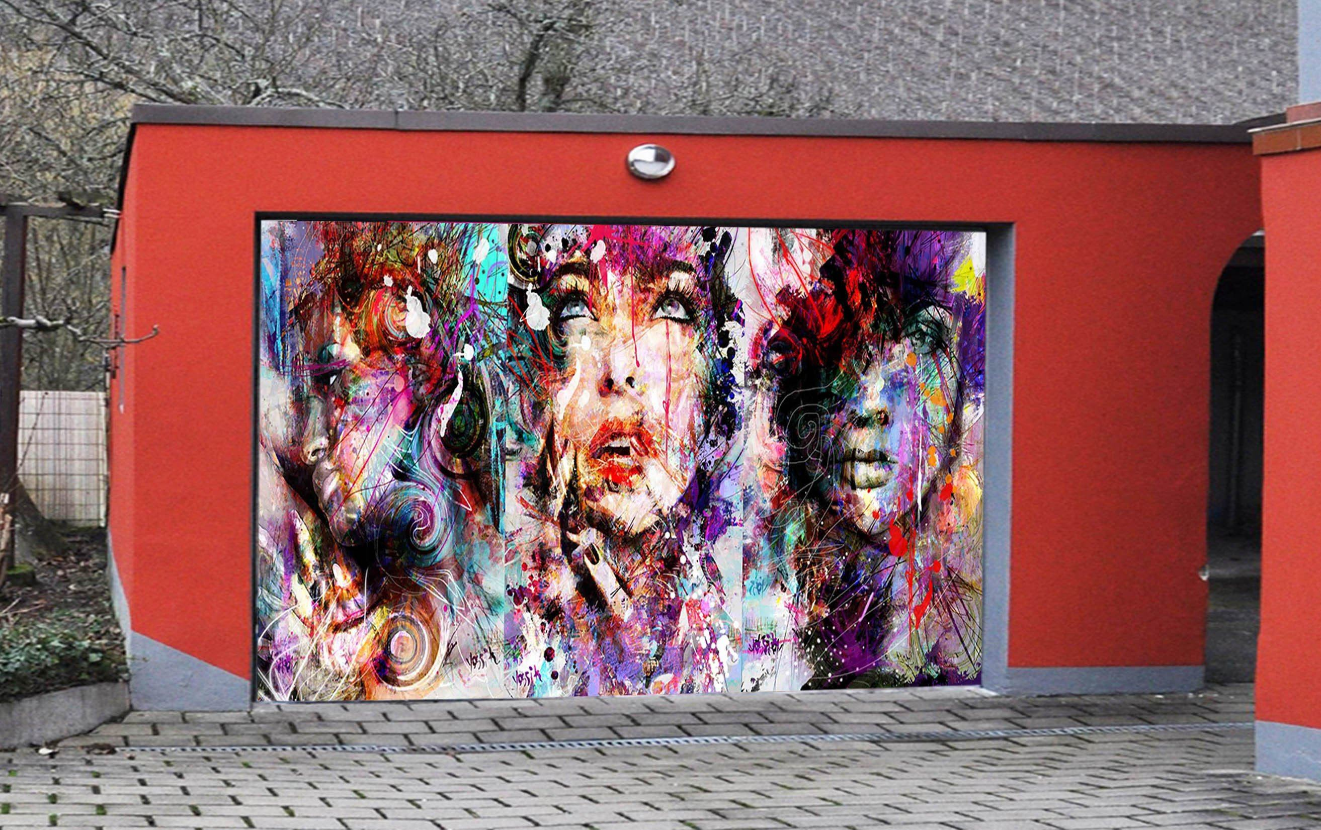 3D Graffiti Women 381 Garage Door Mural Wallpaper AJ Wallpaper