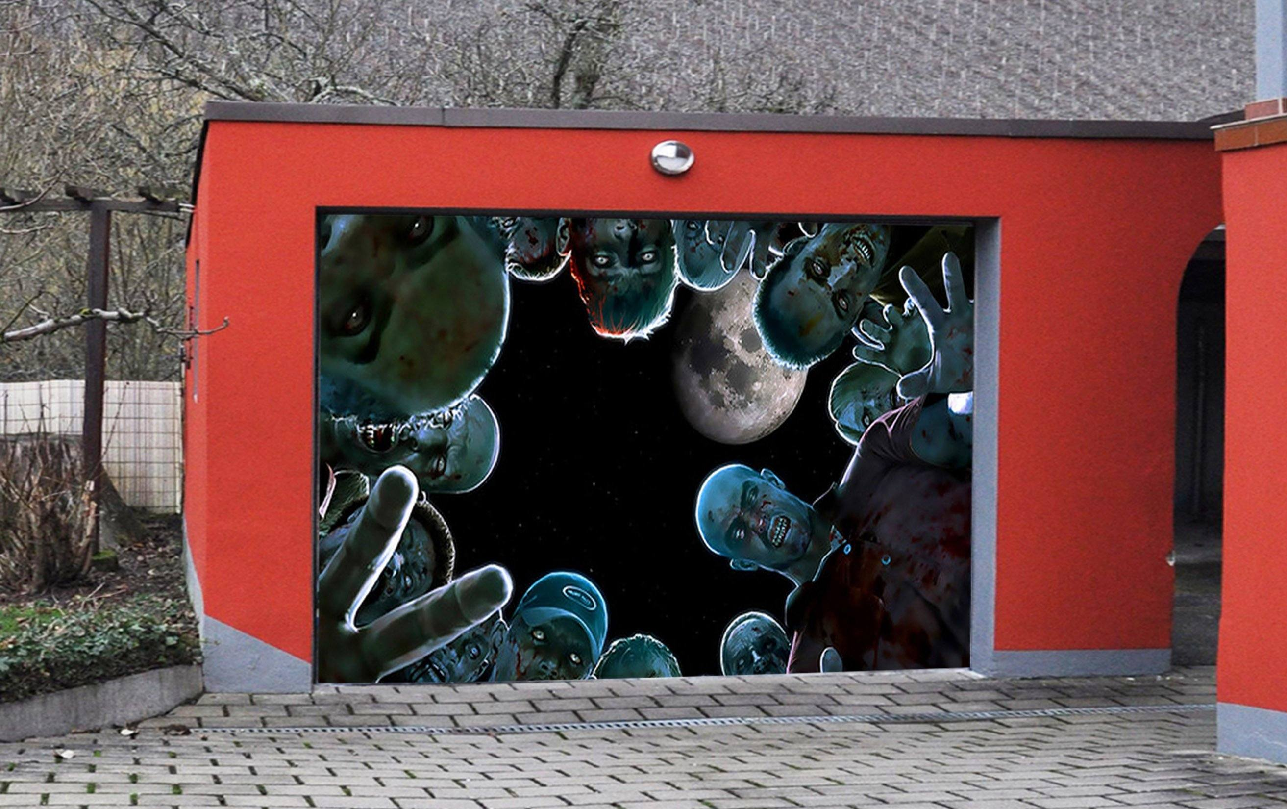 3D Full Moon Zombie 51 Garage Door Mural