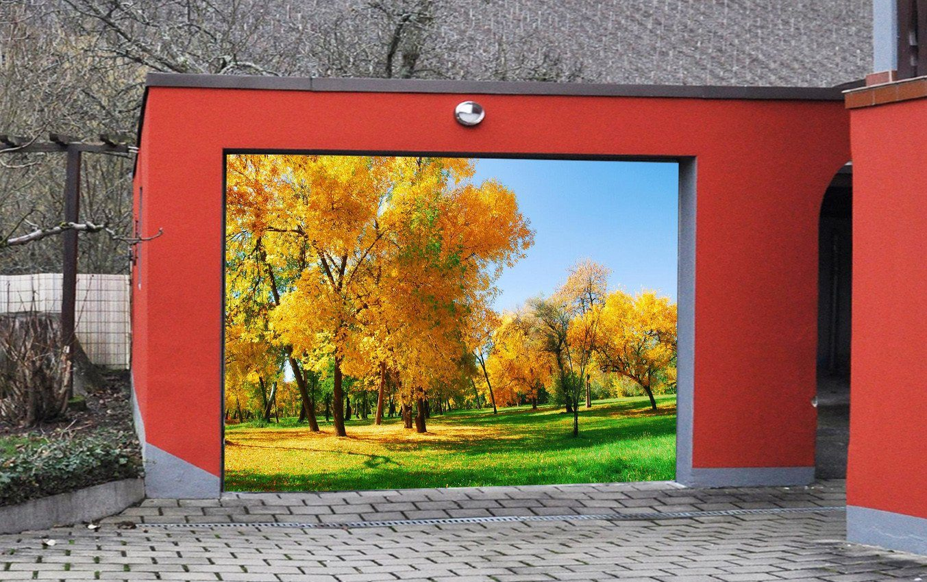 3D Grassland Yellow Trees 203 Garage Door Mural