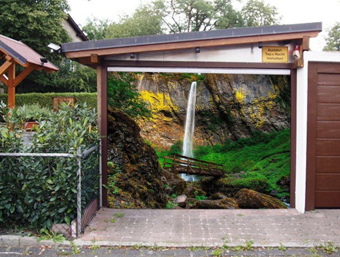 3D Waterfall Wood Bridge 282 Garage Door Mural Wallpaper AJ Wallpaper