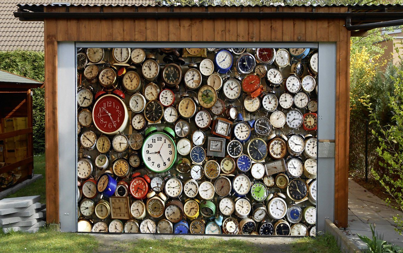 3D Various Classic Clocks 247 Garage Door Mural