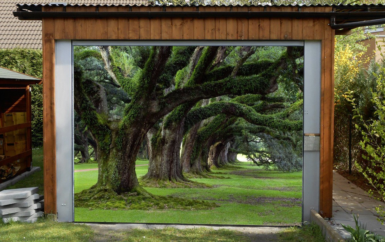 3D Big Trees Rattan 100 Garage Door Mural