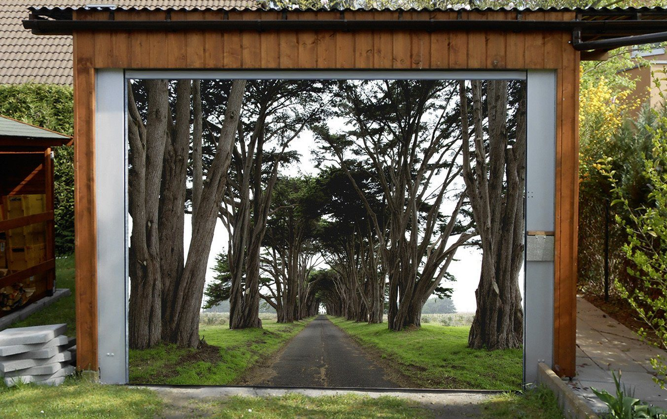 3D Pretty Roadside Trees 167 Garage Door Mural