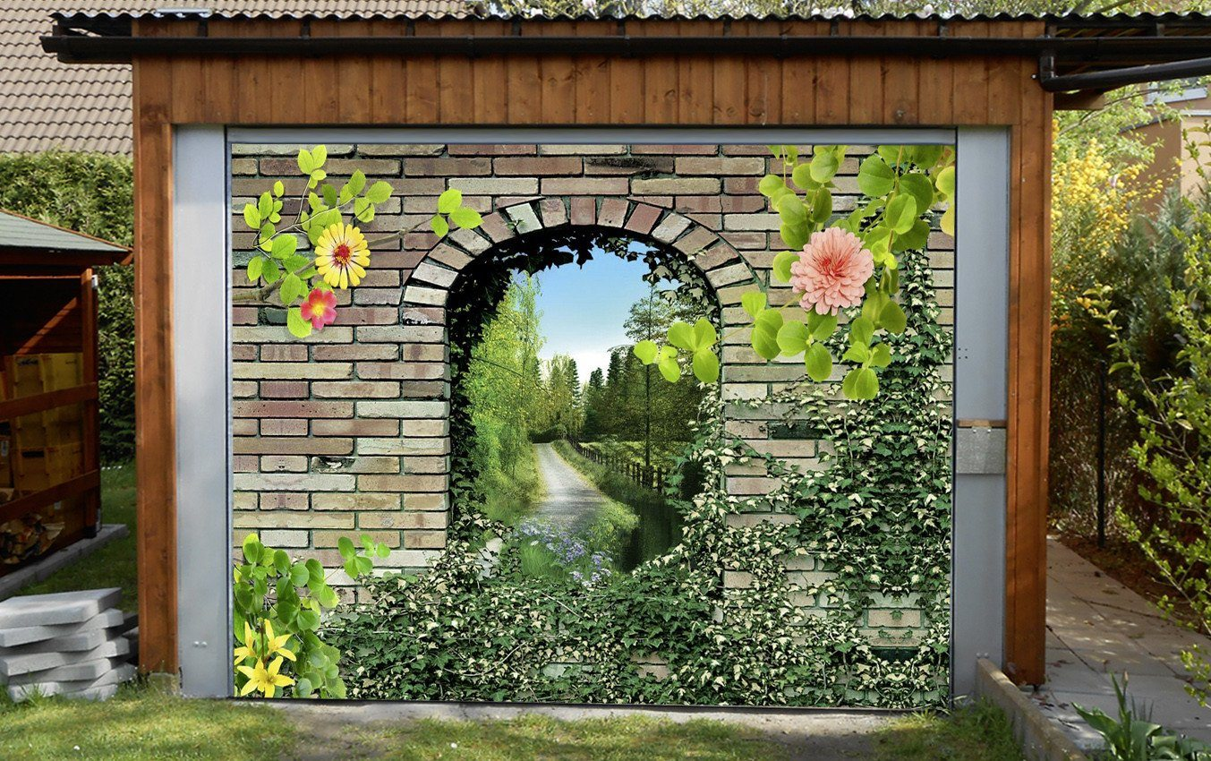 3D Bricks Arches Scenery 232 Garage Door Mural Wallpaper AJ Wallpaper