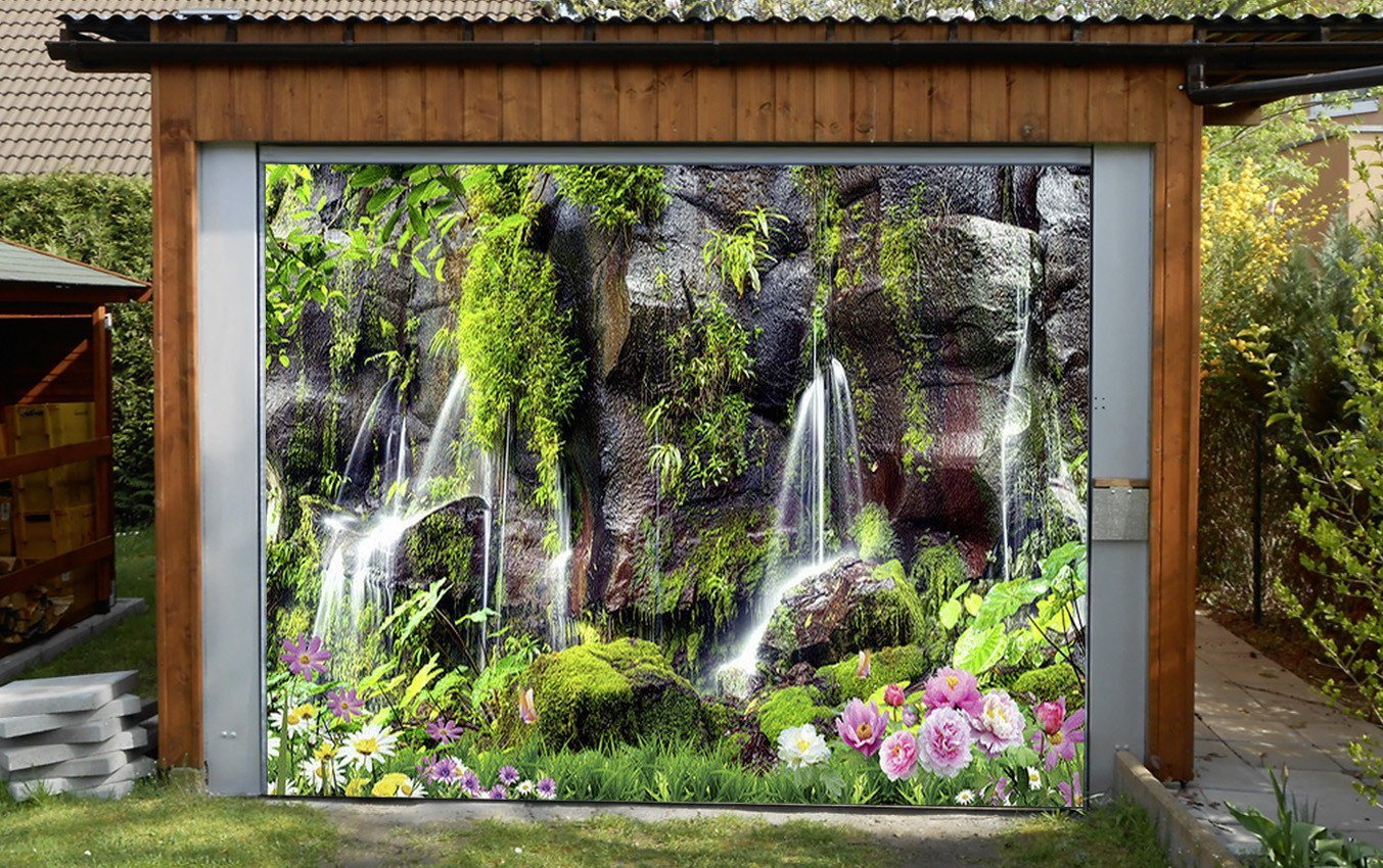 3D Rock Cliff Flowing Water 313 Garage Door Mural Wallpaper AJ Wallpaper