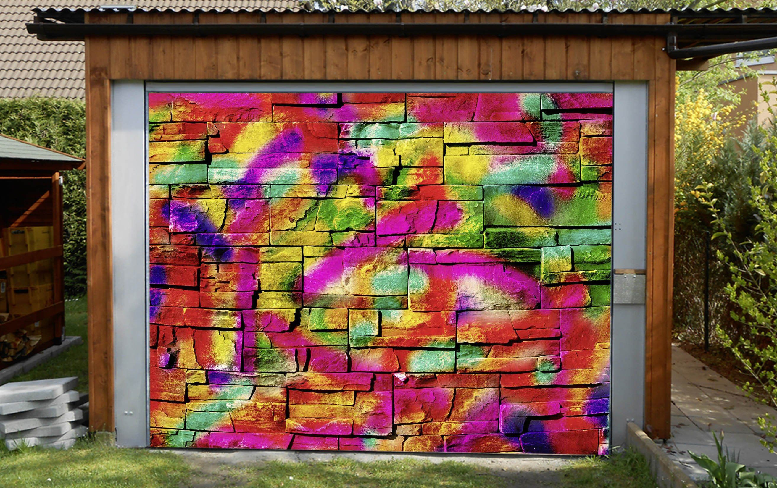 3D Bricks Graffiti 346 Garage Door Mural Wallpaper AJ Wallpaper