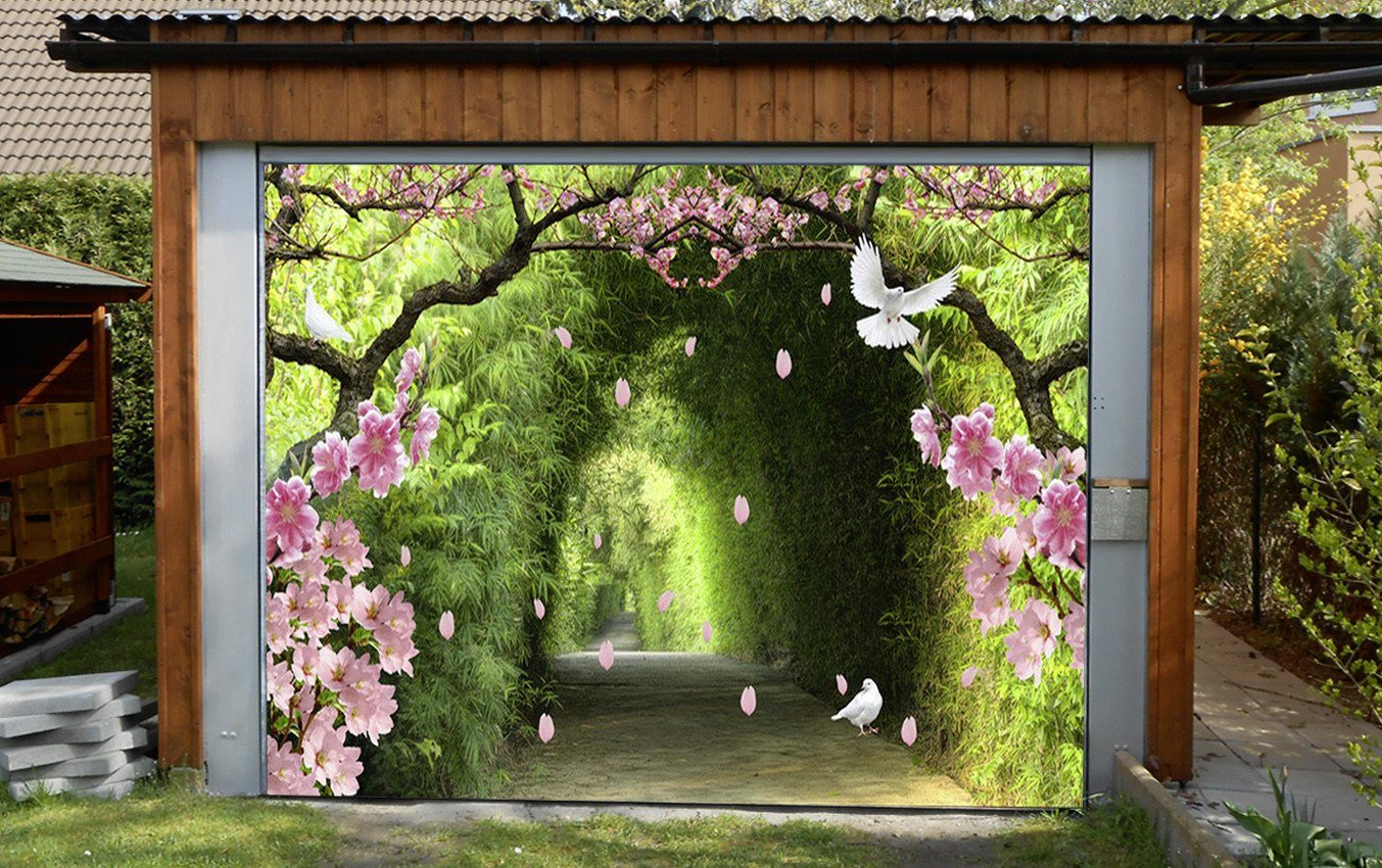 3D Bamboo Corridor Flowers Birds 312 Garage Door Mural