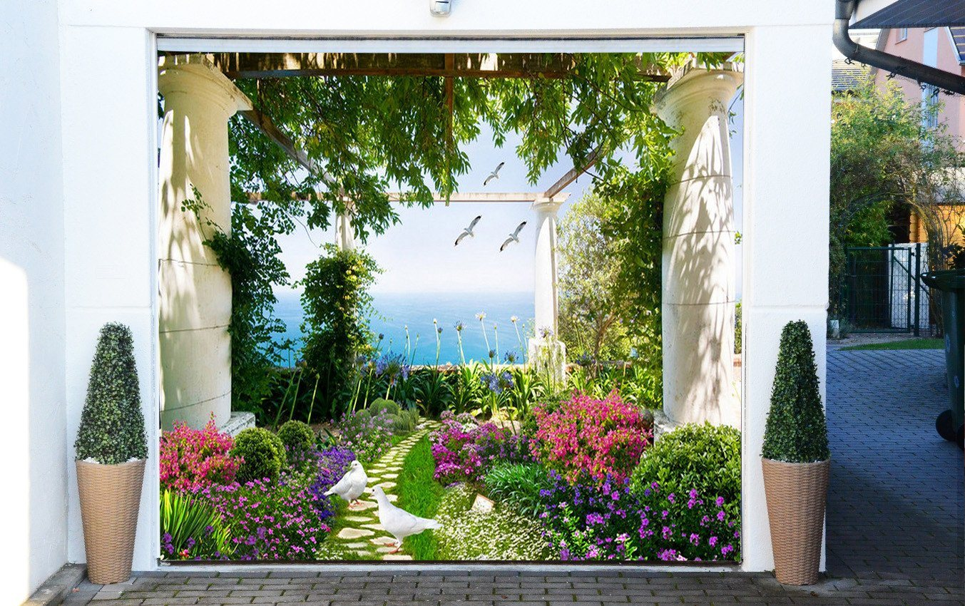 3D Garden Flowers Birds 307 Garage Door Mural Wallpaper AJ Wallpaper