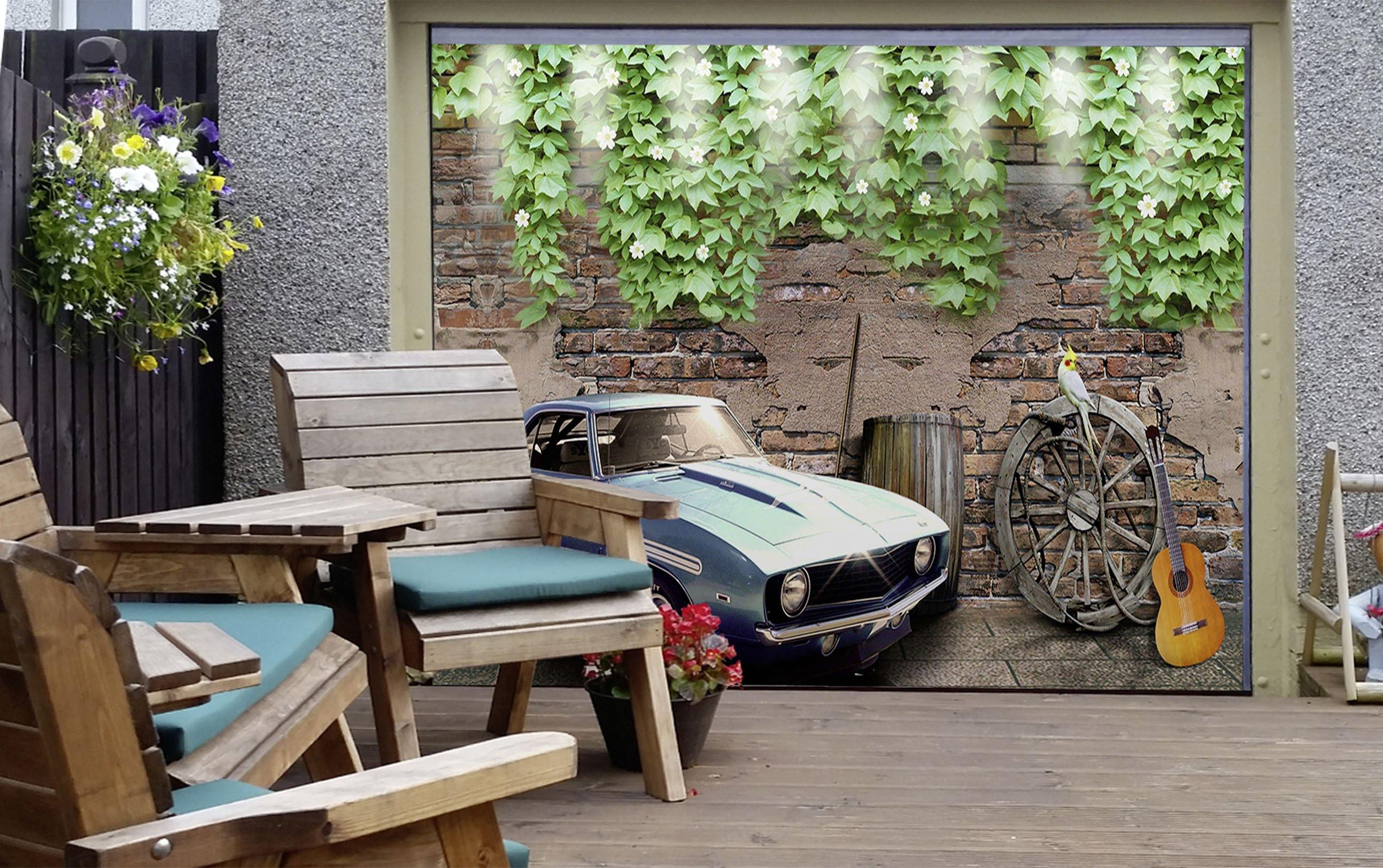3D Flowers Vines Car 362 Garage Door Mural Wallpaper AJ Wallpaper