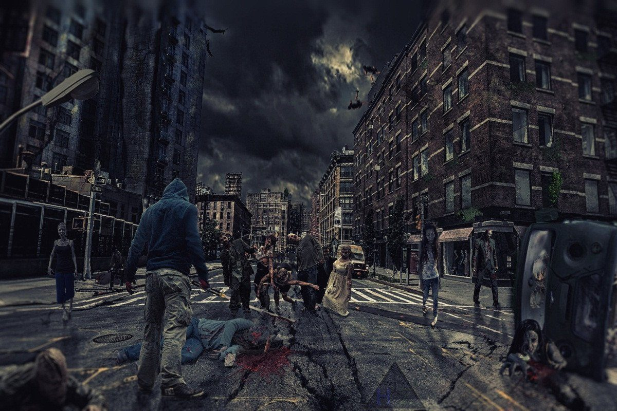 3D City Zombie 138 Garage Door Mural
