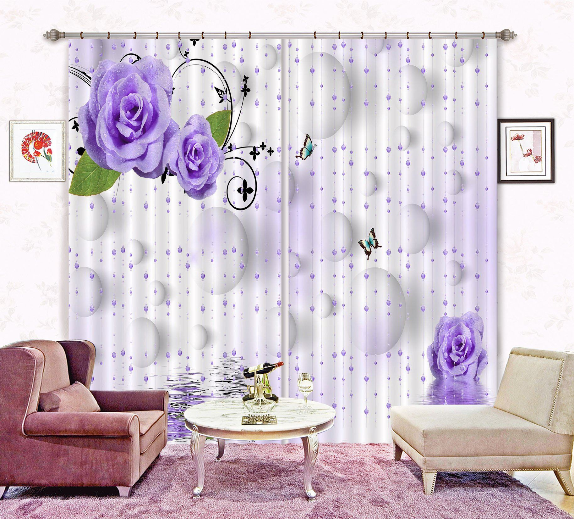 3D Bead Curtains Flowers Curtains Drapes