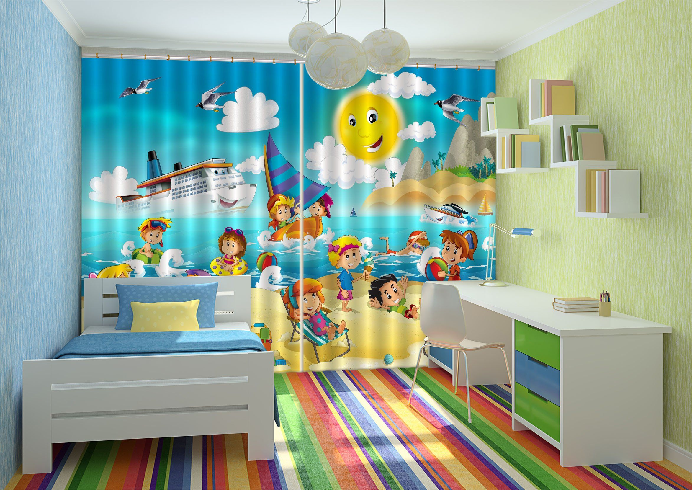 3D Beach Happy Kids 617 Curtains Drapes