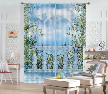 3D Balcony Sky Unicorns 090 Curtains Drapes Curtains AJ Creativity Home