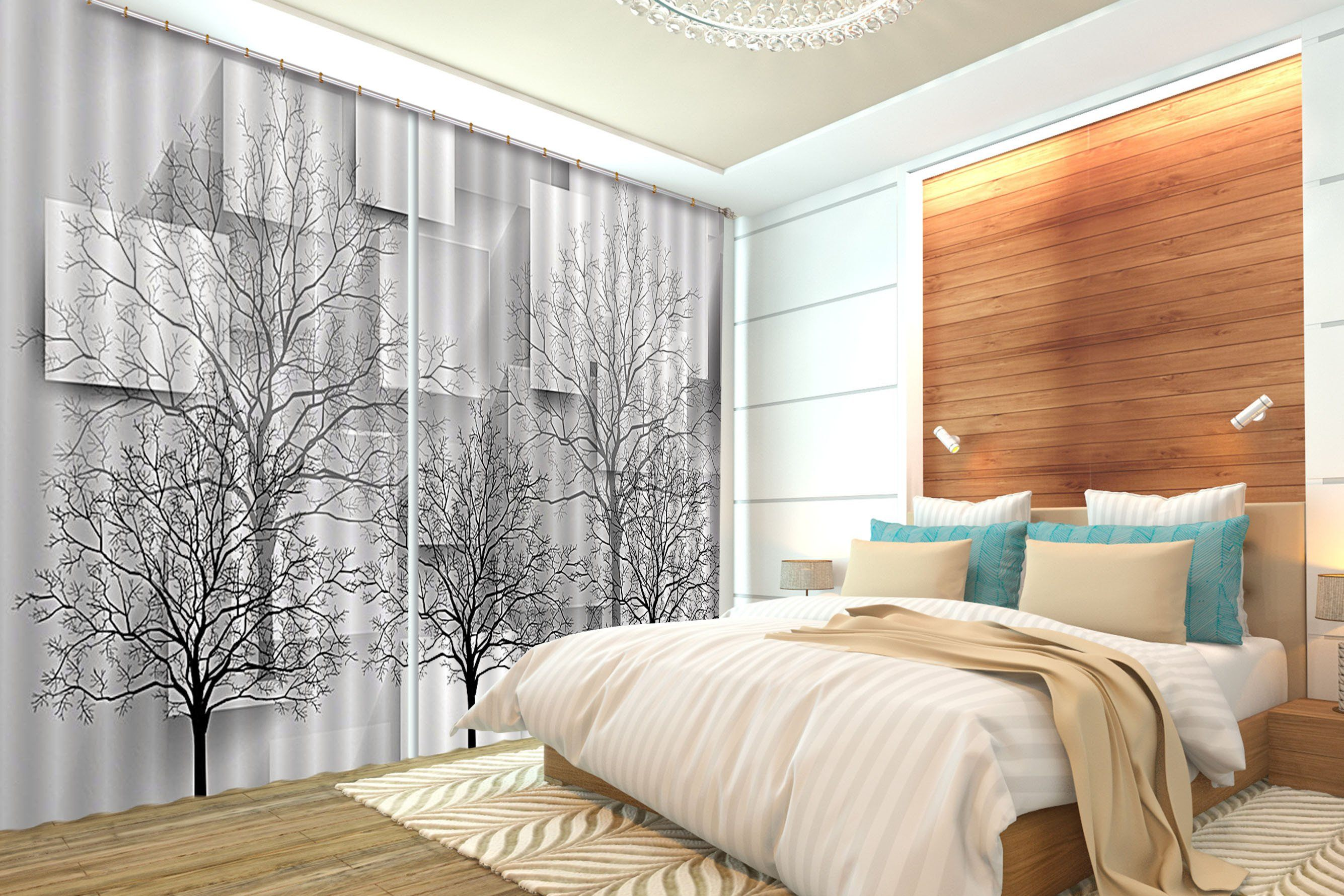 3D Bare Trees Parallelograms 458 Curtains Drapes